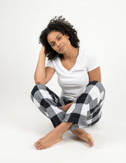 Womens Black & White Plaid Flannel Pants