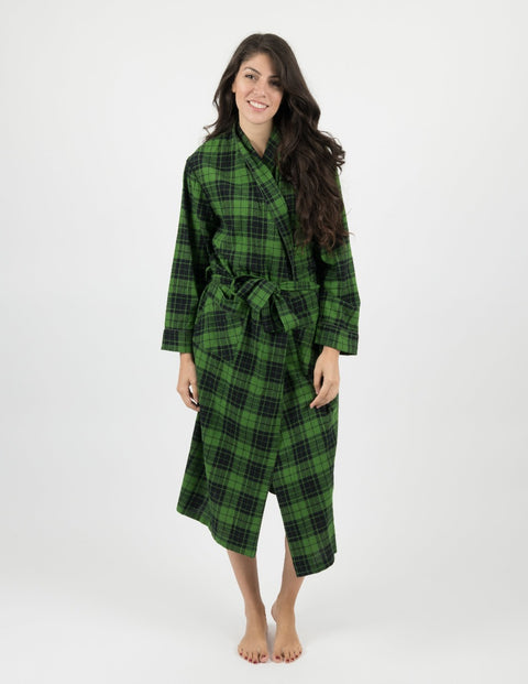 Womens Black & Green Plaid Flannel Robe