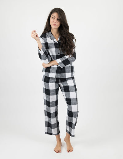 Womens Black & White Plaid Flannel Pajamas
