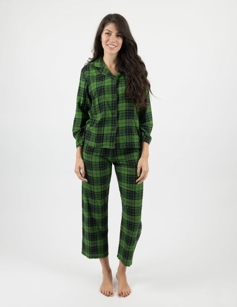 Womens Green & Black Plaid Flannel Pajamas