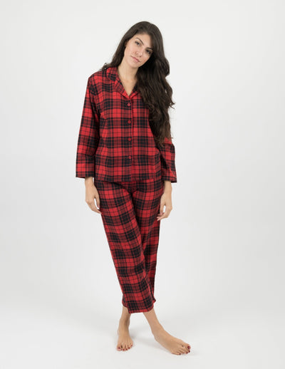 Womens Flannel Red & Black Plaid Button Down Pajamas