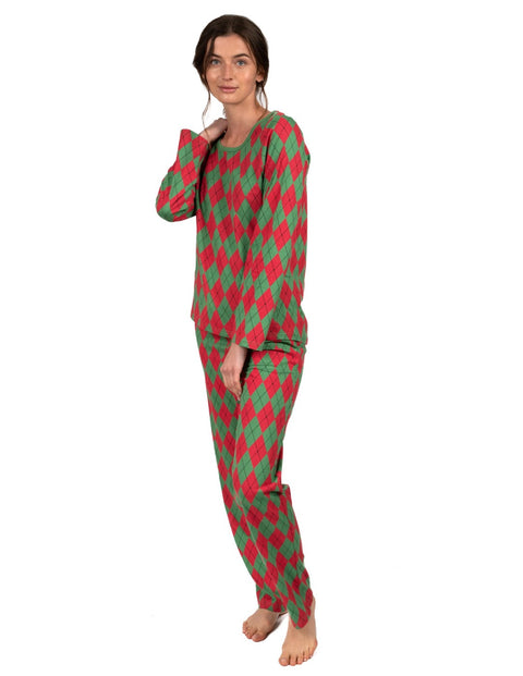 Womens Loose Fit Red & Green Argyle Pajamas