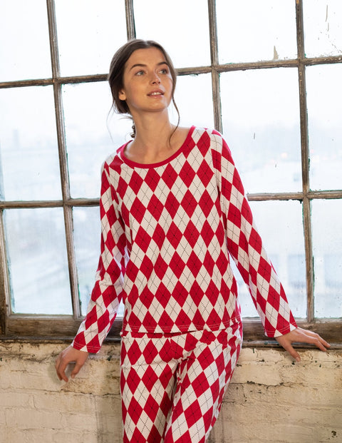 Womens Loose Fit Argyle Print Pajamas