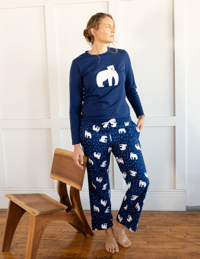 Womens Animal Print Flannel Set