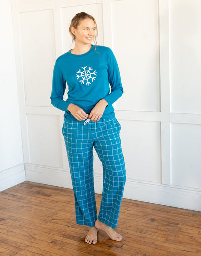 Womens Print Flannel Pajama Sets