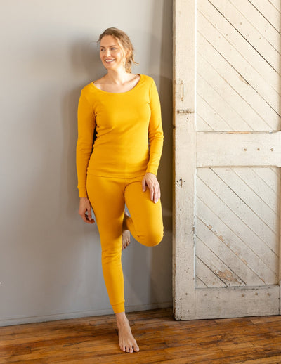 Womens Solid Mustard Yellow Pajamas