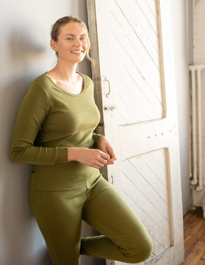 Womens Solid Olive Green Pajamas