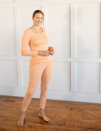 Womens Solid Peach Pink Pajamas