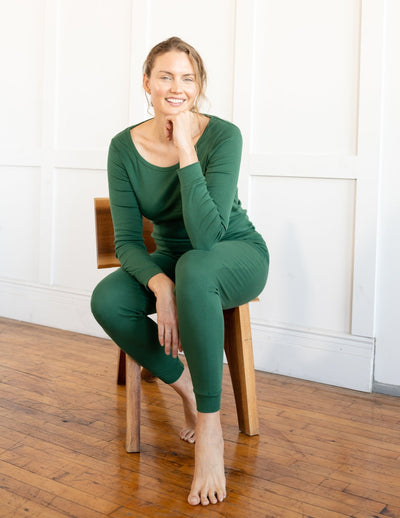 Womens Solid Dark Green Pajamas