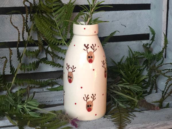 ralph the reindeer milk bottle vase