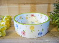 country cottage roses small pet bowl