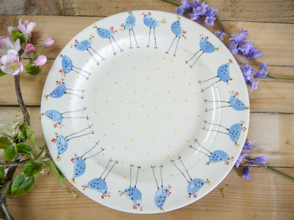 barney blue chicken large dinner plate