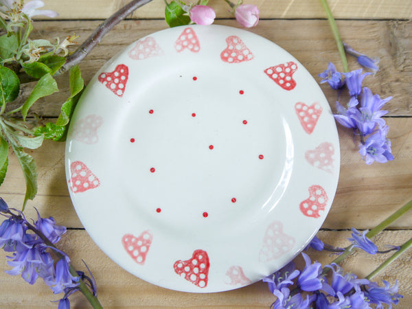 strawberry pink hearts tea plate