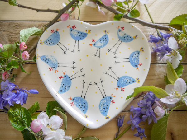 barney blue chicken small heart plate