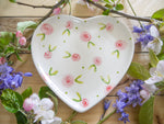 country cottage pink roses medium heart plate