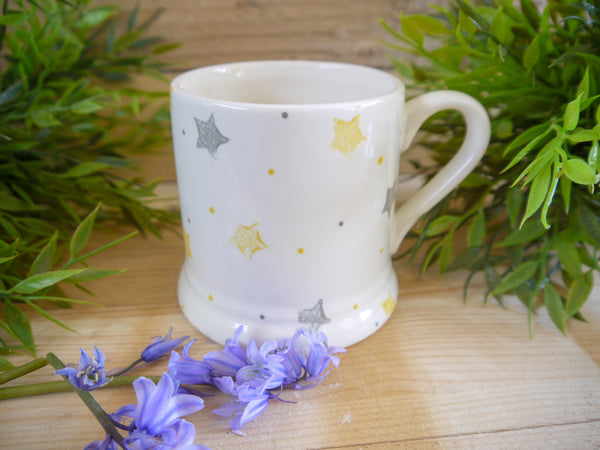 starburst grey & yellow mummy mug
