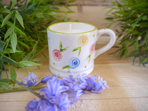 country cottage roses mini mug with candle