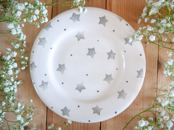 starburst grey tea plate