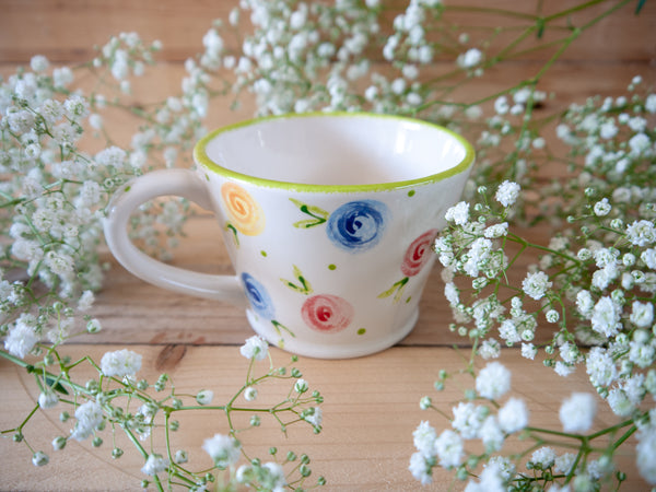 country cottage roses tapered mug
