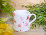 strawberry pink hearts kids mug