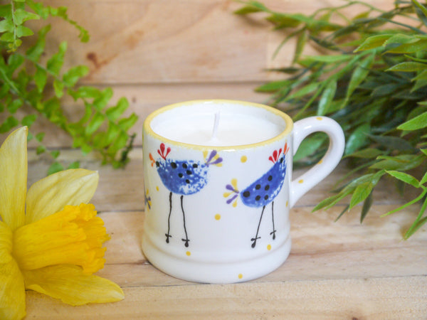 barney blue chicken mini mug with candle