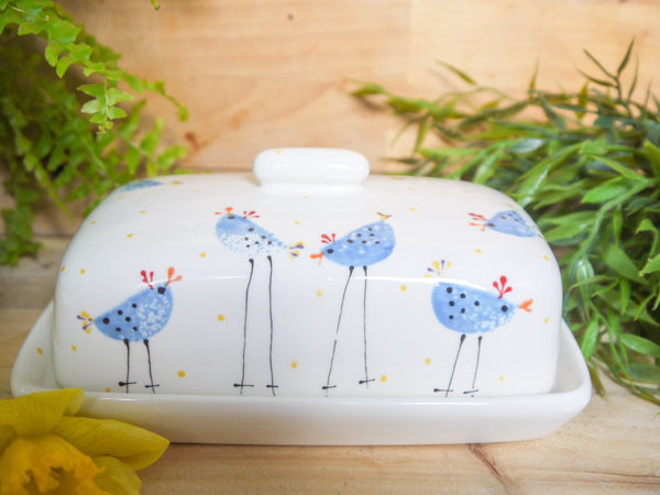 barney blue chicken butter dish