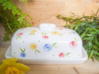 country cottage roses butter dish
