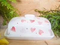 strawberry pink hearts butter dish