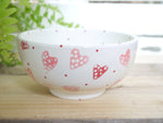 strawberry pink hearts cereal bowl