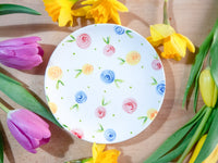 country cottage roses cake plate