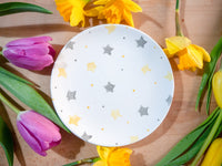 starburst grey & yellow cake plate