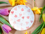 strawberry pink hearts cake plate