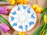 barney blue chicken cake plate