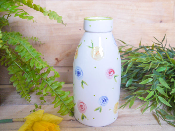 country cottage roses milk bottle vase