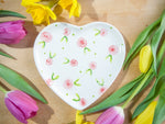 country cottage pink roses small heart plate