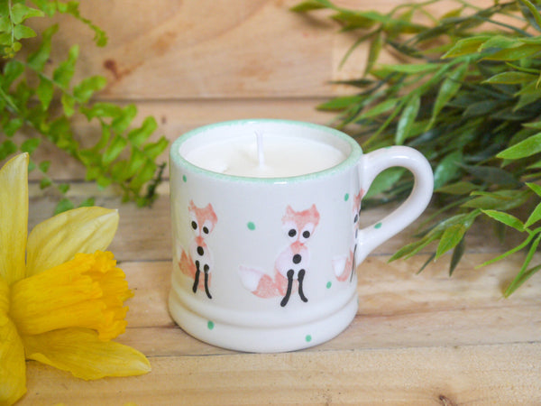frankie fox mini mug with candle