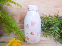 strawberry pink hearts milk bottle vase