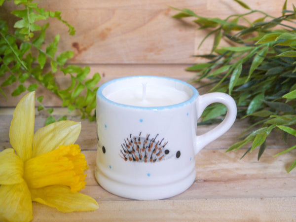 hector hedgehog mini mug with candle