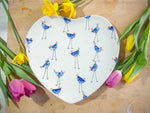 barney blue chicken large heart plate