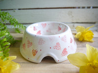 strawberry pink hearts medium pet bowl