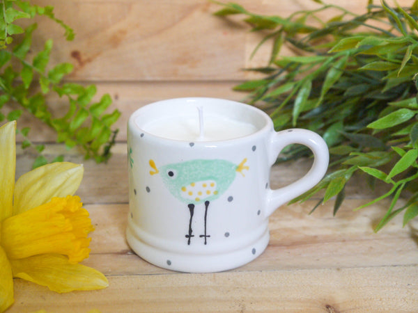 rita retro chicken mini mug with candle
