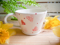 strawberry pink hearts tapered mug