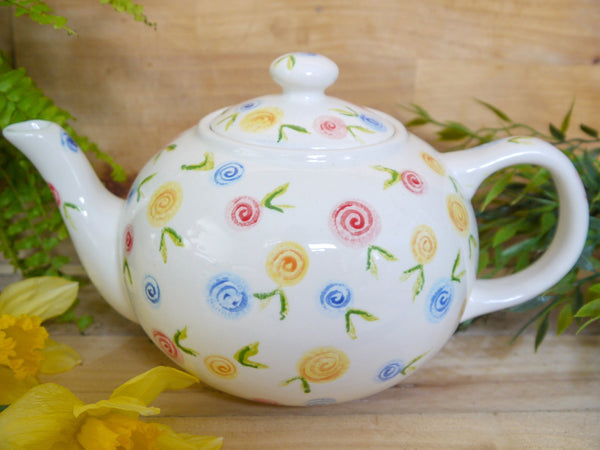 country cottage roses large teapot