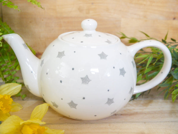 starburst grey large teapot