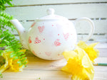 strawberry pink hearts large teapot