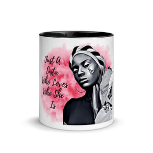 Pink Gray Mug with Color Inside