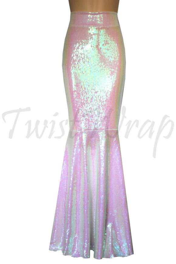20a1765219 Mermaid Sequin Skirt Iridescent Wedding Outfit Bridesmaids Maxi Skirt Pink  Bridal Separates Plus Size Formal Bottoms