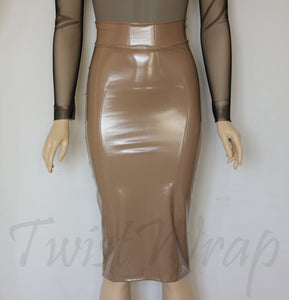 PVC Pencil Skirt Beige Hobble Skirt High Waist Vinyl Skirt ...