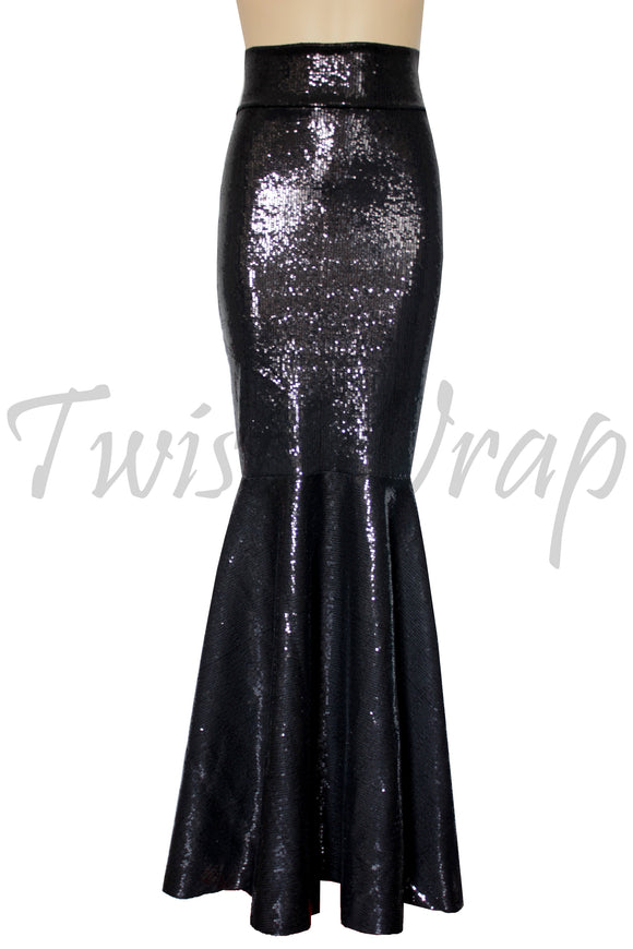 d53649c5c1 Mermaid Skirt Sequin Black Skirt Fishtail Formal Outfit Bridesmaids  Separates Plus Size Fit and Flare Bottoms