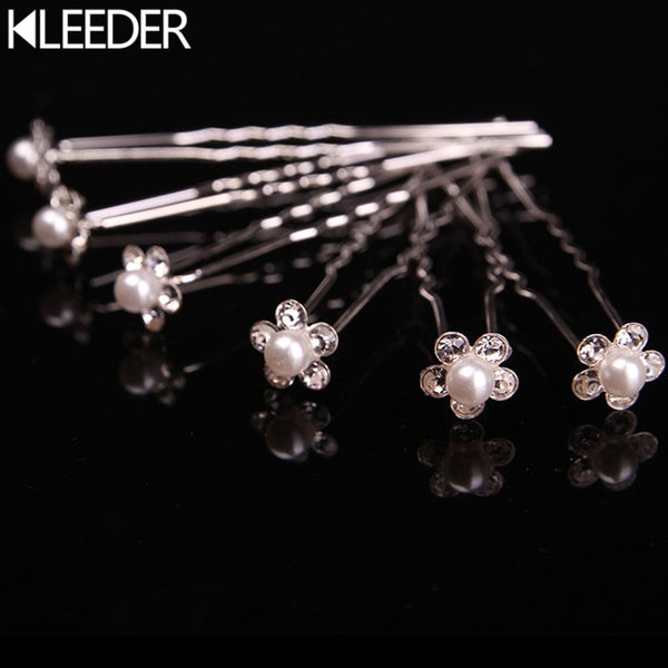 1 pc Wedding Hair Pins Simulated Pearl Rhinestone Crystal Flower Bridal Hairpins Hair Clips for Women Hair Jewelry Accessories